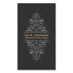 Elegant Vintage Designer Chic Black Swirl Double-Sided Standard Business Cards (Pack Of 100). This is a fully customizable business card and available on several paper types for your needs. You can upload your own image or use the image as is. Just click this template to get started!