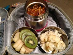 Leftovers made an easy lunch! Spaghetti and Meatballs with a side of cauliflower. Sliced Kiwis and apples for snacks.