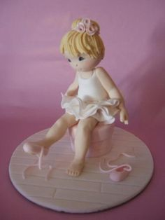 Baby Ballerina Cake Topper - Debbie Brown, The Cake School Fondant Figures, Fondant Cake Toppers, Fondant Cakes, Ballet Cakes, Ballerina Cakes, Baby Ballerina, Dance Cakes, Ballerina Party, Black Magic Cake