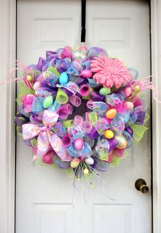 Hey, I found this really awesome Etsy listing at https://www.etsy.com/listing/178962645/huge-easter-wreath-raz-deco-mesh-wreath