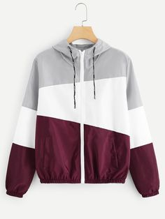 Shop Cut And Sew Zip Up Hooded Jacket online. ROMWE offers Cut And Sew Zip Up Hooded Jacket & more to fit your fashionable needs. Teen Fashion Outfits, Sporty Outfits, Fashion Mode, Cute Outfits, Sporty Fashion, Ski Fashion, Fashion Stores, Winter Fashion, Windbreaker Jacket