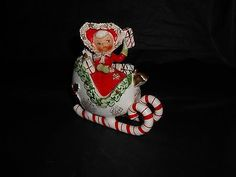 Vintage Christmas Napco Ceramic Shopper Girl Candy Cane Sleigh