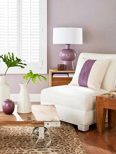 45 Lovely Living Rooms | Midwest Living Airy scene Whispery purple colors walls set the tone for this corner of an airy living room. Naturally organic, the shade harmonizes with raw-wood furniture and animal prints.