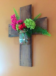 Barnwood Cross/Mason Jar Wall Sconce/Vase by TheDavidsonDesign