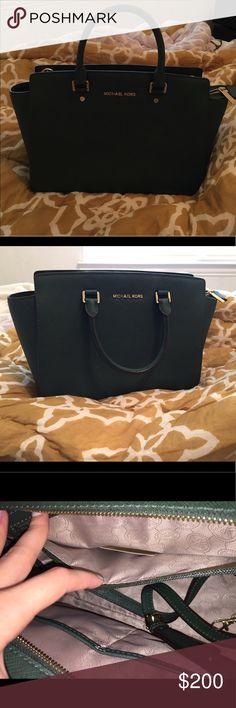 Selma Large Saffiano Leather Satchel MK leather satchel. Very dark hunter green. Michael Kors Bags Satchels