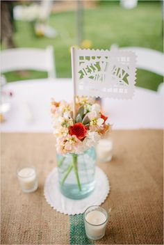 table decor with Papel Picado banners