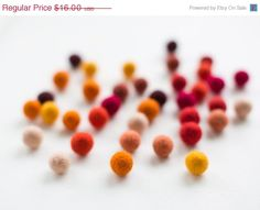 CIJ SALE 50 felt wool balls 1/2 in. size hot mix color by feltinga, $14.40