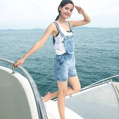 yaya on vacation :) Island Outfit, Thai Style, Fashion Beauty, Womens Fashion, Biker Girl, Tumblr Girls, Traditional Dresses, Overall Shorts, Girl Crushes