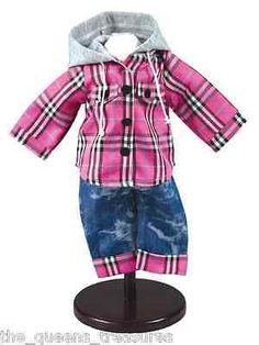 """Farm Jeans American Farm Girl Outfit 18"""" Doll Clothes Jeans & Flannel Hoodie NEW"""