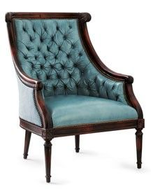 Tufted turquoise leather chair