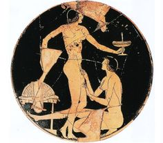 A ceramic vessel (c. 515 – 495 B.C.E.), Apollodoros. Image from Art and Homosexuality: A History of Ideas, pp. 18 lesbianism in art