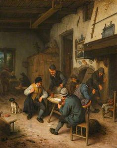The Interior of an Inn with Peasants Playing Cards by Adriaen van Ostade