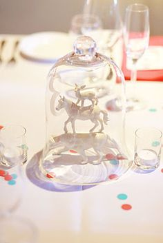 painted plastic animals as centrepieces