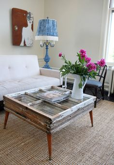 Coffee table made from what look like stacked old windows | Apartment Therapy