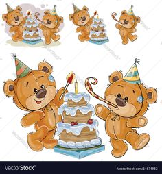 Vector illustration of two brown teddy bears in cardboard hats and with whistles light a candle on a birthday cake. Print, template, design element. Download a Free Preview or High Quality Adobe Illustrator Ai, EPS, PDF and High Resolution JPEG versions.