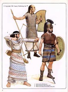 - 1° Arquero Sirio . Dinastia XVlll a.C. , 2°- Guerrero de carro Hitita . Siglo Xlll a.C. , 3°- Guerrero Hitita de la Guardia Real . Siglo lX a.C.