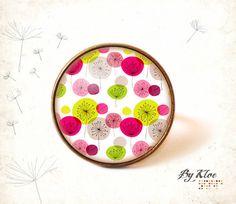 Bague cabochon • Graphisme dandelion • fleurs nature pissenlit vert rose violet blanc noir verre