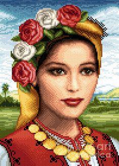 Bulgarian Beauty Tapestry - Textile by Stoyanka Ivanova Space Drawings, Cross Stitch Landscape, Folk Embroidery, Bulgarian, Cross Stitch Charts, Betty Boop, Pansies, Paper Design, Pattern Art