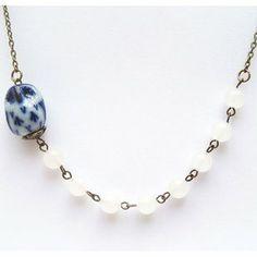 Antiqued Brass Blue Porcelain Owl White Jade Necklace