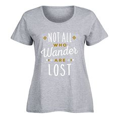 LC trendz Plus Athletic Heather 'Not All Who Wander' Scoop Neck Tee ($17) ❤ liked on Polyvore featuring plus size women's fashion, plus size clothing, plus size tops, plus size t-shirts, plus size, graphic tees, women's plus size tops, plus size scoop neck tee and graphic design t shirts