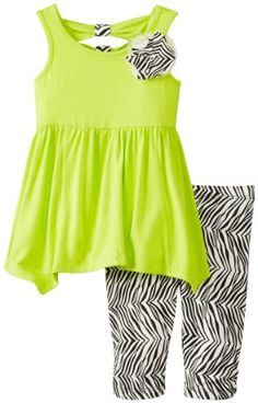 Black Friday Nicole Miller Baby-Girls Infant 2 Piece Knit Jersey Tunic with Bow Back and Printed Zebra Capri Legging, Lime Punch, 24 Months from Nicole Miller Cyber Monday