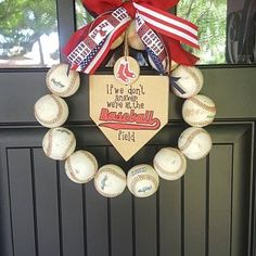 Baseball Wreath Burlap With Initial Made Using Real Leather Wreath Burlap, Monogram Wreath, Burlap Bows, Softball Wreath, Baseball Wreaths, Baseball Party Supplies, Wooden Initials, New York Yankees Baseball, American Decor