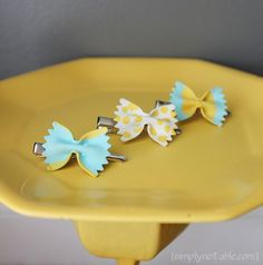 Painted Pasta Hair Bows (Pasta-always a great idea for little girl accessories. Cheap, brittle, and if she gets hungry, a convenient snack!)