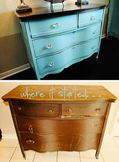 i should be mopping the floor: Refinishing Grandma's Dresser {Tutorial} Furniture Projects, Furniture Makeover, Home Projects, Home Furniture, Furniture Design, Refurbished Dressers, Old Dressers, Dresser Refinish, Repurposed Furniture