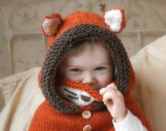 Hooded cowl Fox Rene PDF knitting pattern in baby by MukiCrafts