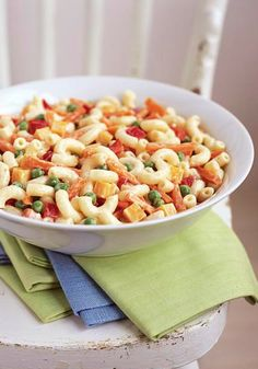 Pasta Side Salad Made Over -- In this healthy living recipe, we cut the fat--but not the creamy, delicious flavor--from our favorite pasta side salad.