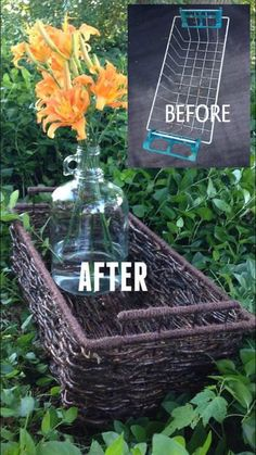 how to turn discarded junk and vines into a woven basket, crafts, gardening, how to, Before and after