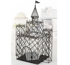 This Castle Card Box is perfect for a fairytale themed wedding! Black card box is made from a black metal and is designed to replicate a beautiful castle!