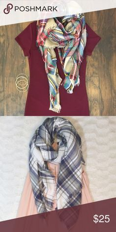 Plaid Thick, Knit Blanket Scarves 100% Acrylic- Super soft & gorgeous scarves for this Fall Season! Both colors available!🍃 Boutique Accessories Scarves & Wraps