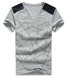 $10.06 Fashion Flocking Line Color Block V-Neck Short Sleeve Slimming Cotton T-shirt For Men