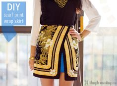 SCARF-PRINT WRAP SKIRT DIY