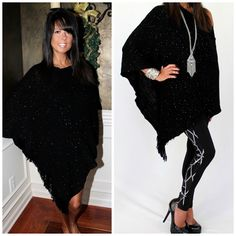 """Starry Nights"" Sequin Poncho Sweater Black Silver w Fringe Soft Sexy Long 