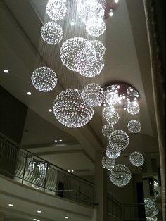 Home Lighting Design, Interior Lighting, Lighting Ideas, Bubble Chandelier, Chandelier Lighting, Crystal Pendant Lighting, Crystal Chandeliers, Front Entrances, Bedroom Sanctuary
