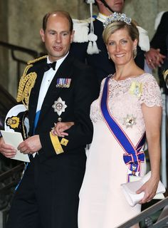 Prince Edward, Earl of Wessex and Sophie, Countess of Wessex depart from the wedding ceremony of Princess Madeleine of Sweden and Christopher O'Neill at The Royal Palace on 8 June 2013 in Stockholm, Sweden
