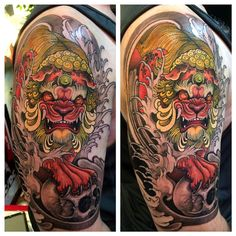 Tattoo done by Elvin Yong. Dark Art Tattoo, Epic Tattoo, Tattoo You, Color Tattoo, Body Art Tattoos, Japanese Tattoo Designs, Japanese Sleeve Tattoos, Foo Dog Tattoo Design, Tibetan Tattoo