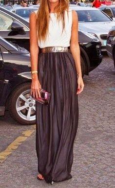 Long Black Skirt and White Shirt