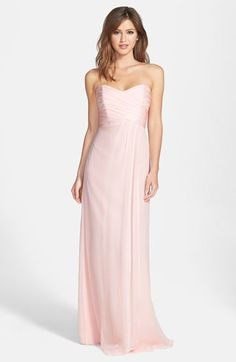 Amsale Strapless Crinkle Chiffon Gown available at #Nordstrom  so pretty for bidesmaids.  A bit expense but it will show in the garment and the way it hangs, etc.