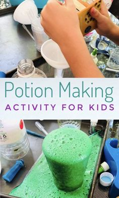 Potions Party Activity for Fun and Messy Play - Kids will love making potions with their friends during this fun science activity! Having a potions party is fun and messy play! Science Activities For Kids, Games For Toddlers, Party Activities, Indoor Activities, Summer Activities, Toddler Games, Family Activities, Science Experiments, Sensory Activities