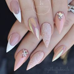 Soft pink white lace and white french tip nail design with stiletto shaping! Beautiful nails by Ugly Duckling family member @getbuffednails Ugly Duckling Fufu Pink acrylic and finished with our Topcoats Ugly Duckling Nails page is dedicated to promoting quality, inspirational nails created by Interna