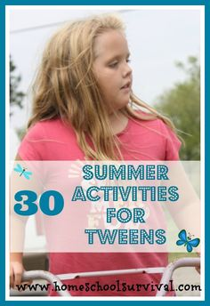 Do your tweens need some ideas to stay busy during summer vacation? These ideas will keep them busy for days!  They're CHEAP, too!!