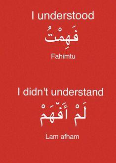 Learning Arabic MSA (#FabienneM) Arabic Verbs, Arabic Sentences, Arabic Phrases, English Language Learning, Learn A New Language, Arabic Conversation, Spoken Arabic, Arabic English Quotes, Arabic Quotes