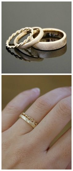 Goldene Vintage Ringe mit Kordeldesign, romantische Eheringe / romantic golden wedding rings made by Mein Lieblingsring via DaWanda.com #uniqueweddingrings