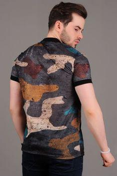 Düğme Yaka Renkli Desenli Füme T-shirt