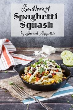 Southwestern style spaghetti squash bowl with avocado crema