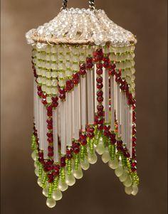 Miniature bead chandelier | #fairygarden