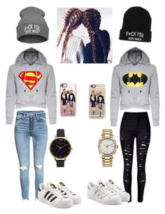 """Best Friend Goals Outfit #3"" by kakaaaaan ❤ liked on Polyvore featuring WithChic, adidas Originals, Olivia Burton, Rolex, Casetify, BFF, matching and goals"